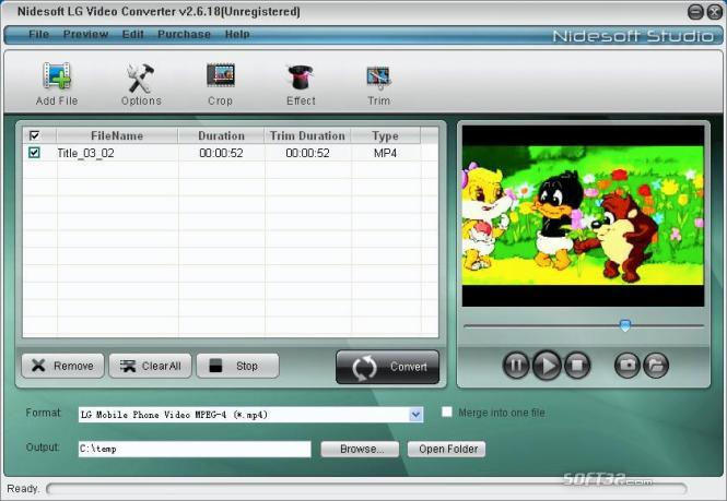 Nidesoft LG Video Converter Screenshot 2