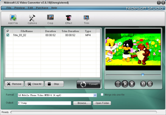 Nidesoft LG Video Converter Screenshot 1