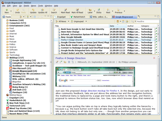 RSSOwl - RSS, RDF, Atom Newsreader Screenshot 1