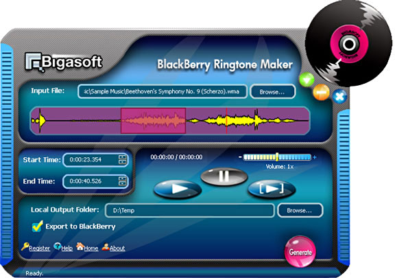Bigasoft BlackBerry Ringtone Maker Screenshot 1