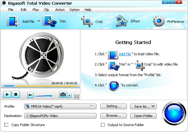 Bigasoft Total Video Converter Screenshot 1