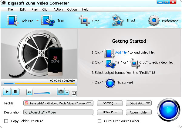 Bigasoft Zune Video Converter Screenshot 1