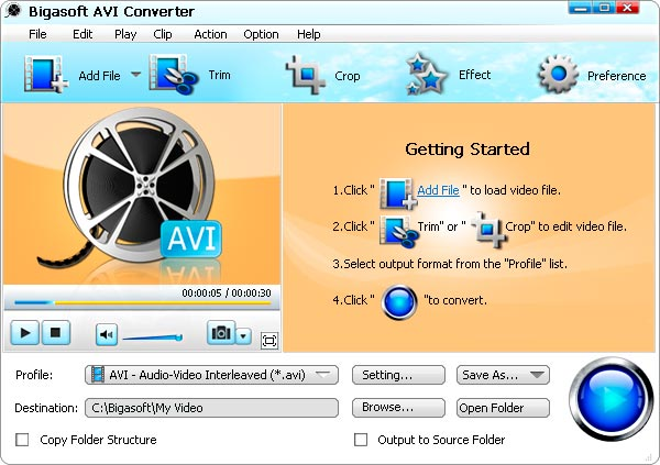 Bigasoft AVI Converter Screenshot 1