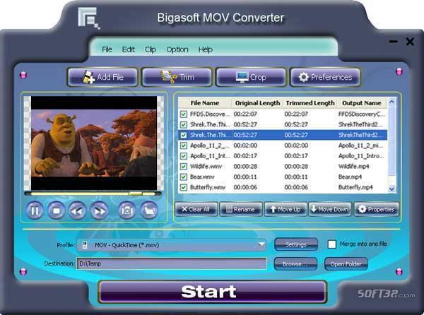 Bigasoft MOV Converter Screenshot 3