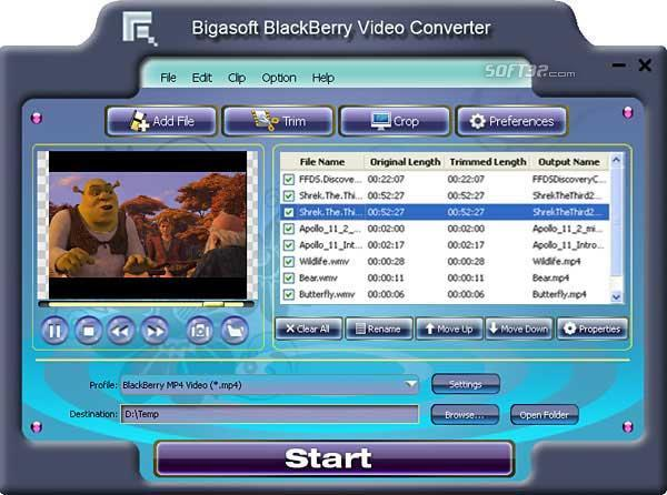 Bigasoft BlackBerry Video Converter Screenshot 3