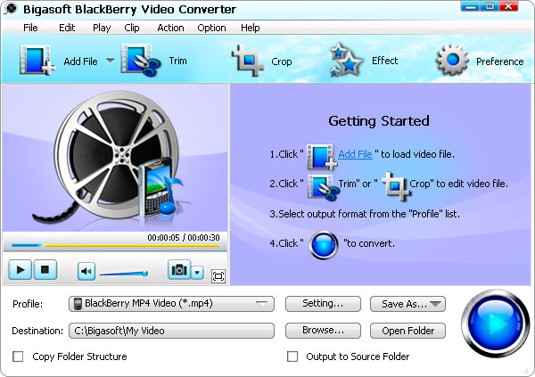 Bigasoft BlackBerry Video Converter Screenshot 1