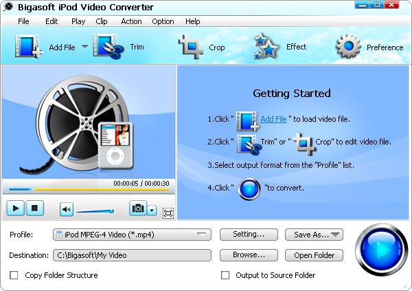Bigasoft iPod Video Converter Screenshot 1