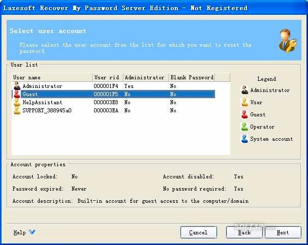 Lazesoft Recover My Password Server Screenshot 3