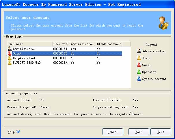 Lazesoft Recover My Password Server Screenshot