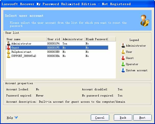 Lazesoft Recover My Password Unlimited Screenshot