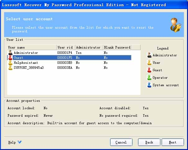 Lazesoft Recover My Password Pro Screenshot 1