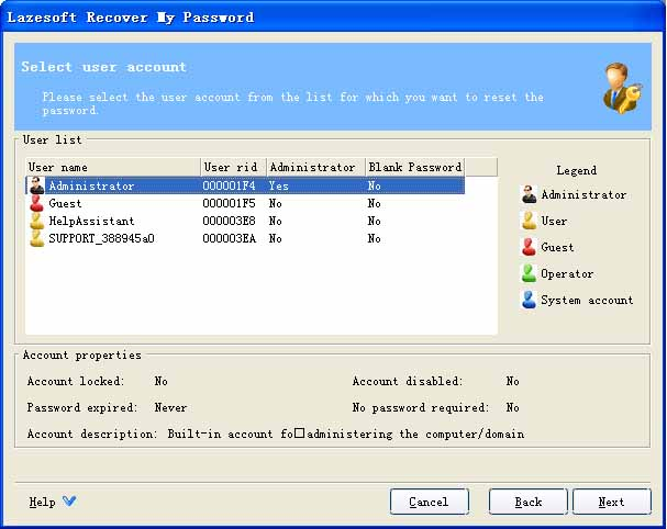 Lazesoft Recover My Password Home Screenshot 1