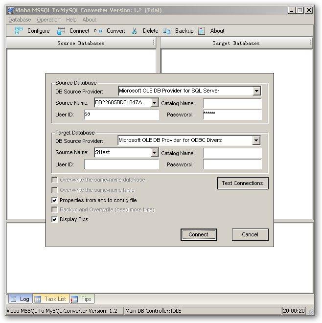 Viobo MSSQL to MySQL Converter Screenshot
