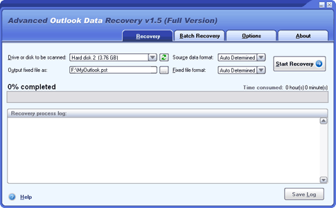 Advanced Outlook Data Recovery Screenshot