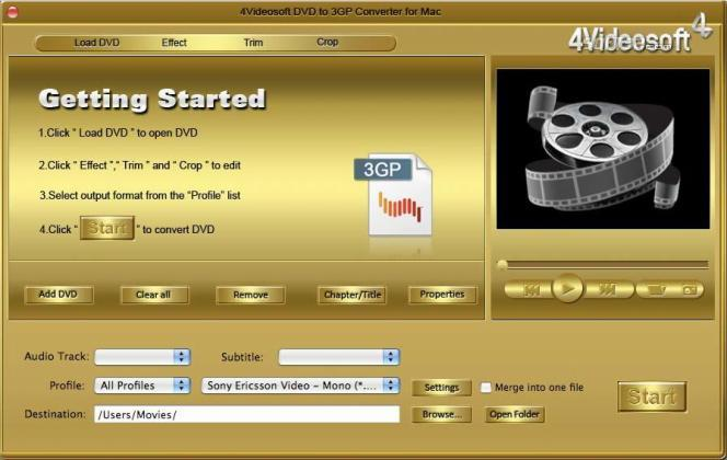 4Videosoft DVD to 3GP Converter for Mac Screenshot 3