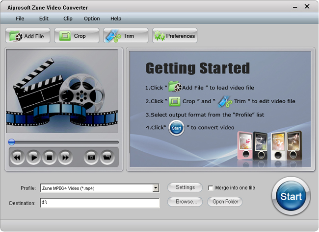 Aiprosoft Zune Video Converter Screenshot 1