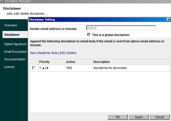 Disclaimer, S/MIME for IIS SMTP and MSEx Screenshot 1
