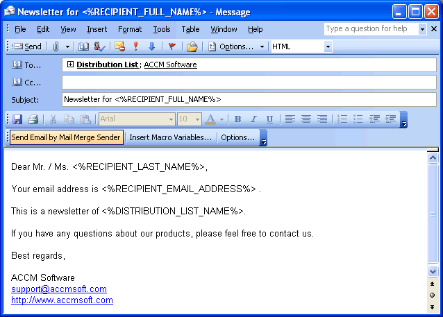 Mail Merge Sender for Outlook Screenshot 1