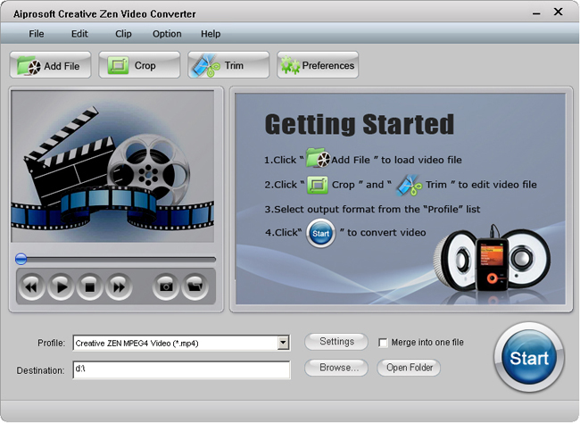 Aiprosoft Creative Zen Video Converter Screenshot