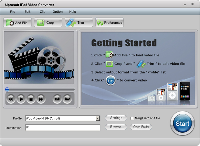 Aiprosoft iPod Video Converter Screenshot 1
