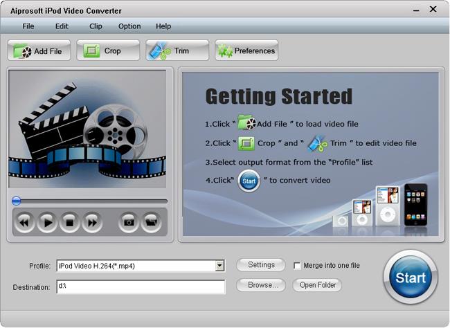 Aiprosoft iPod Video Converter Screenshot