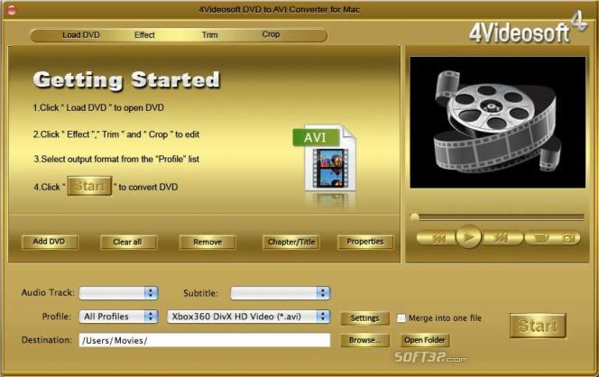 4Videosoft DVD to AVI Converter for Mac Screenshot 2