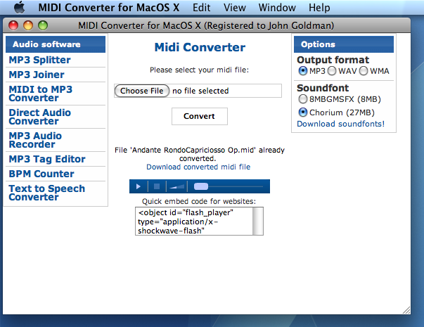 Midi Converter for Mac Screenshot