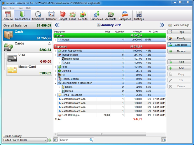 Personal Finances Home Screenshot