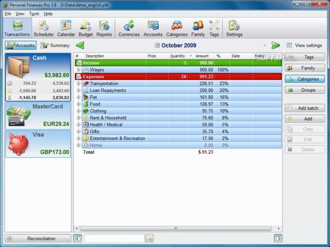 Personal Finances Home Screenshot 3