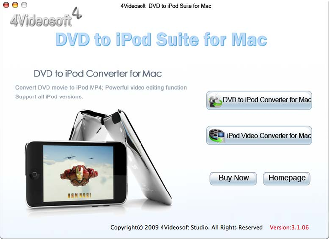4Videosoft DVD to iPod Suite for Mac Screenshot