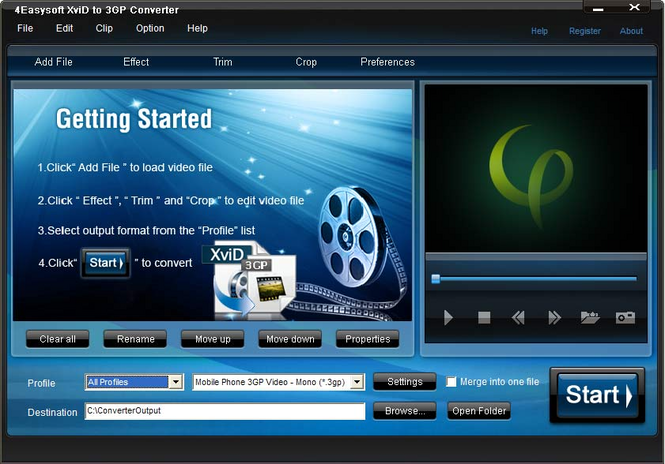 4Easysoft XviD to 3GP Converter Screenshot