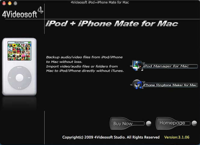4Videosoft iPod + iPhone Mate for Mac Screenshot 1