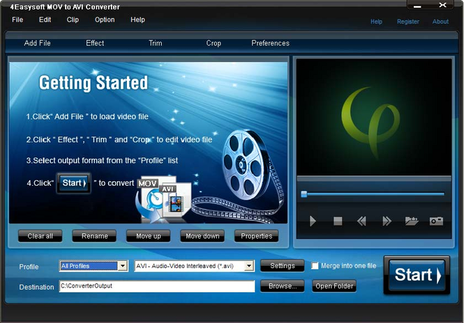 4Easysoft MOV to AVI Converter Screenshot 1