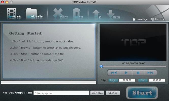 TOP Video to DVD for Mac Screenshot