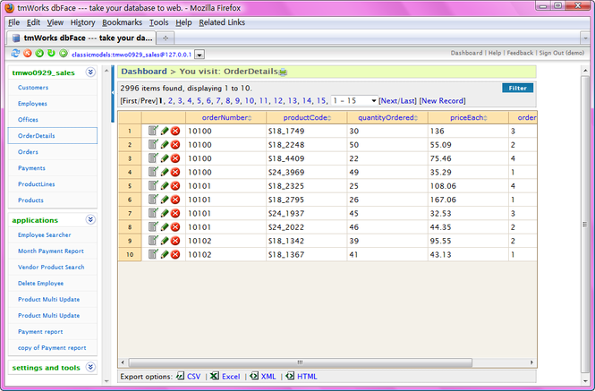 DbFacePHP Screenshot 1