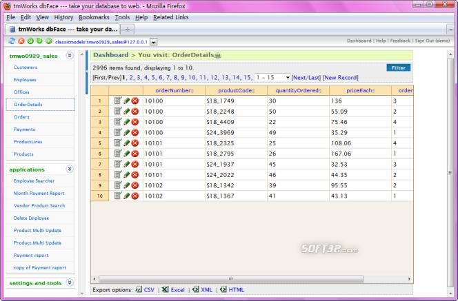 DbFacePHP Screenshot 3