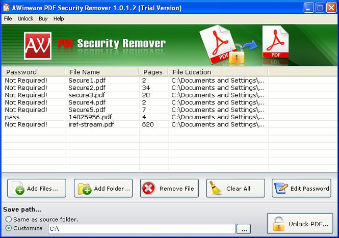 PDF Restrictions Remover Screenshot 1