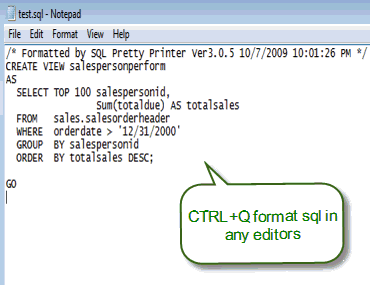 SQL Pretty Printer Desktop Version Screenshot