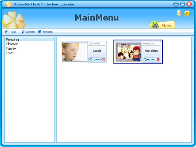AlbumMe Flash Slideshow Executor Screenshot