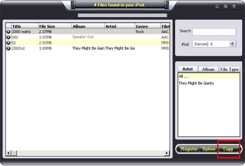 ABC iPod video/audio to computer V5.8 Screenshot 1