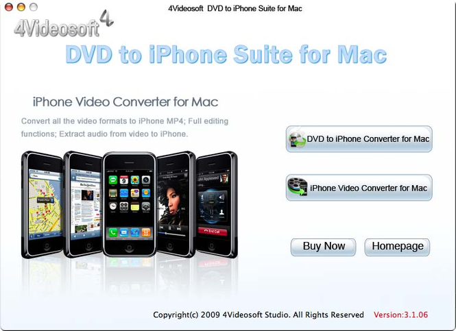 4Videosoft DVD to iPhone Suite for Mac Screenshot