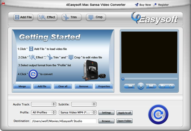 4Easysoft Mac Sansa Video Converter Screenshot