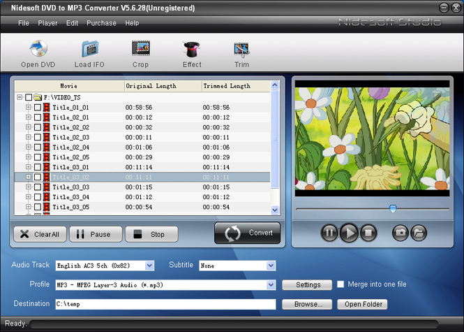 Nidesoft DVD to MP3 Converter Screenshot 1