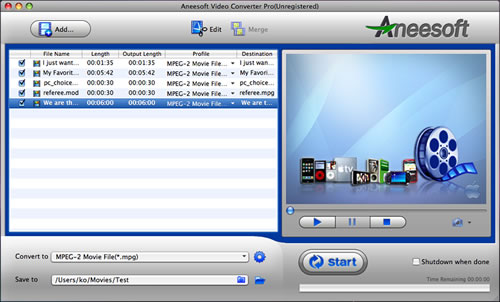 Aneesoft Video Converter Pro for Mac Screenshot
