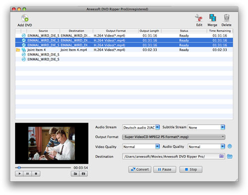 Aneesoft DVD Ripper Pro for Mac Screenshot