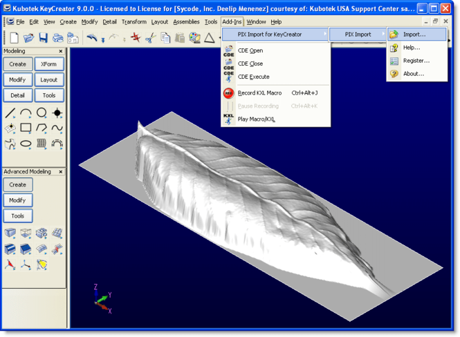 PIX Import for KeyCreator Screenshot
