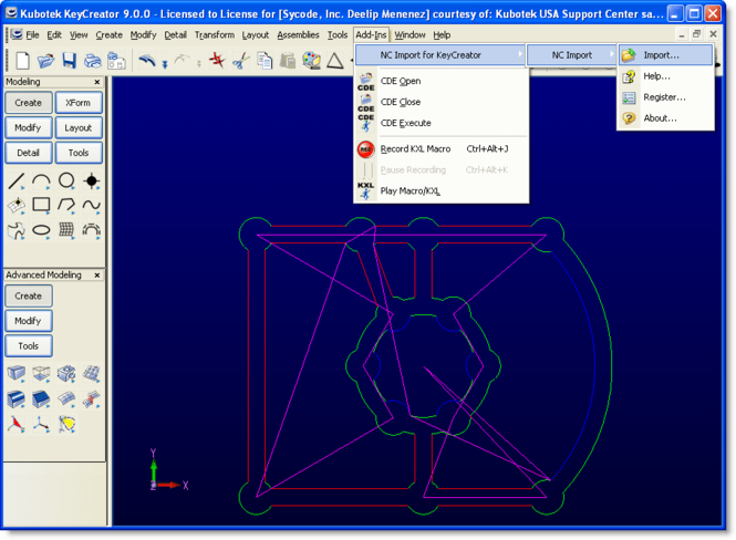 NC Import for KeyCreator Screenshot
