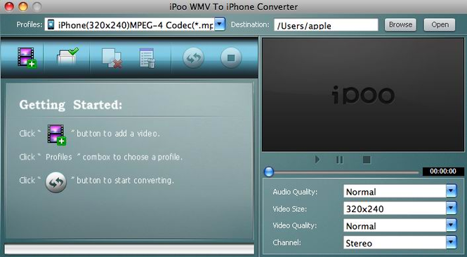 iPoo WMV to iPhone Converter for Mac Screenshot