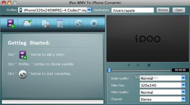 iPoo WMV to iPhone Converter for Mac Screenshot 2