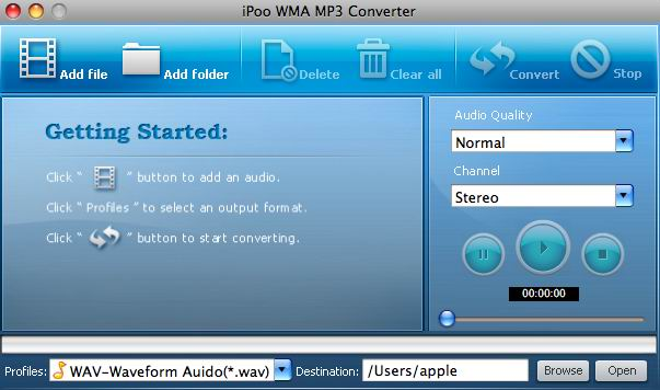 iPoo WMA MP3 Converter for Mac Screenshot 1